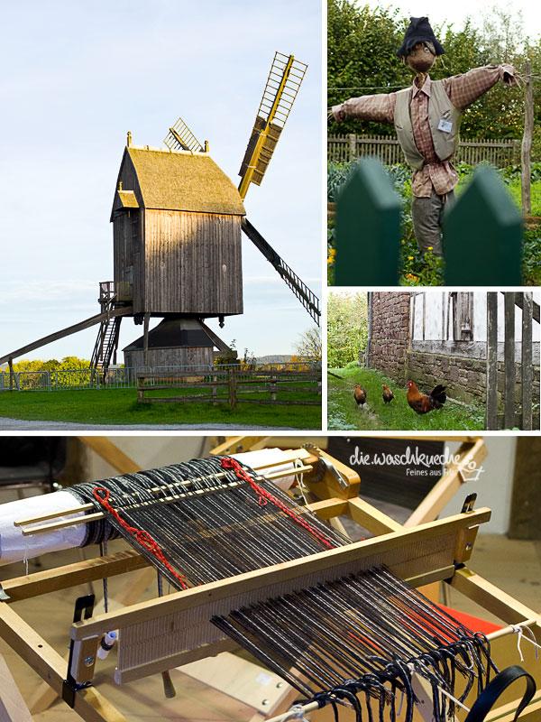 Bockmühle und Handwebstuhl im Freilichtmuseum Detmold