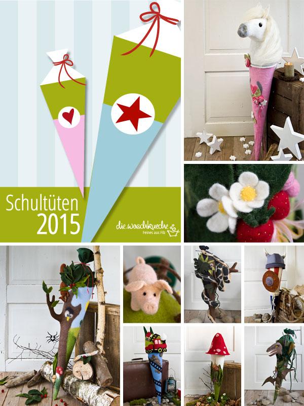 Schultüten 2015 aus Filz als Dinosaurier, Wikinger, Wald, Schlange, Trecker, Fliegenpilz, Pferd.