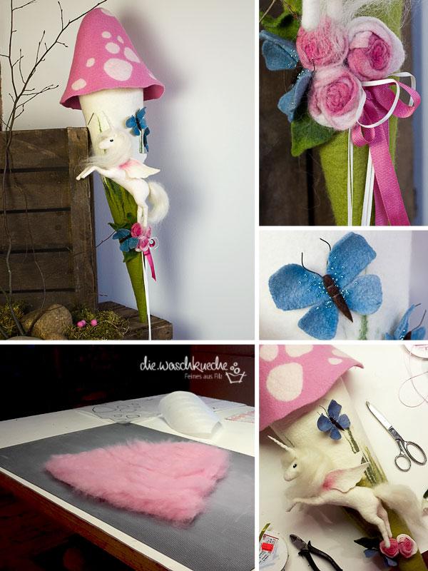 Einhorn gefilzt auf einer Fliegenpilzschultüte mit Rosen dekoriert.