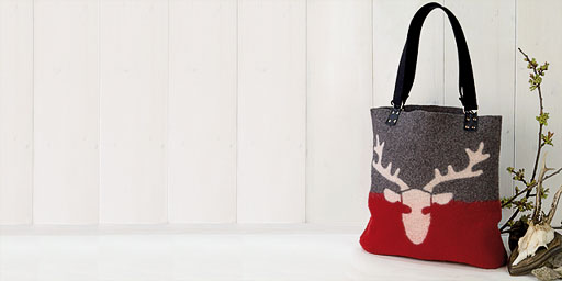 Filztasche Shopper mit Hirsch Farbe grau, rot