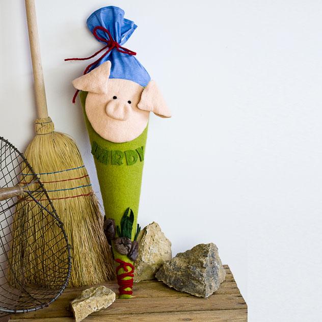 Schultüte | Auf dem Bauernhof - Schwein. Filzdesign von Doris Niestroj, handgefertigt.