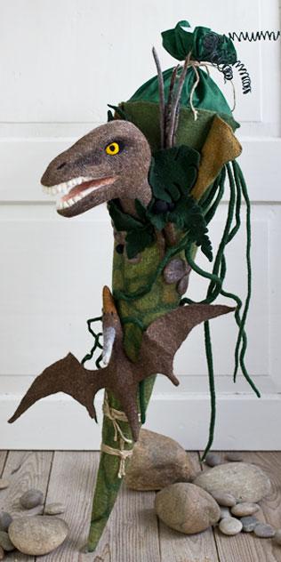 Schultüte | Dinosaurier und Flugsaurier. Filzdesign von Doris Niestroj, handgefertigt.