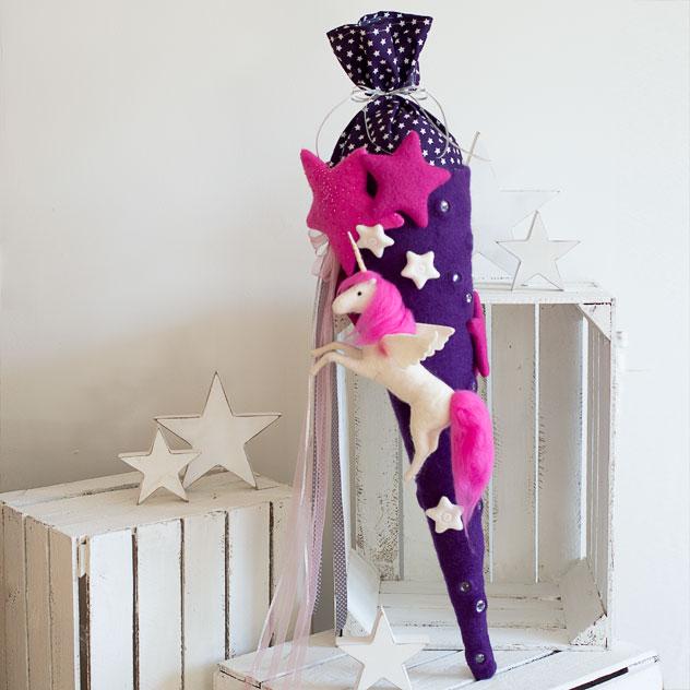 Schultüte | Sternen Einhorn. Filzdesign von Doris Niestroj, handgefertigt.