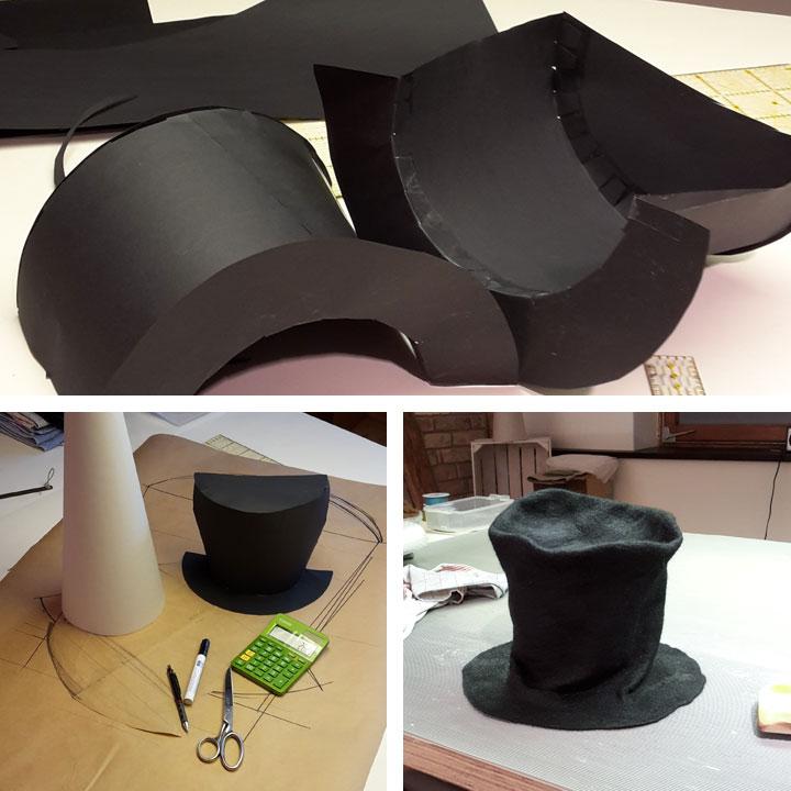 Entstehung des Zylinders vom verrückten Hutmacher aus Filz für die Schultüte Alice im Wunderland.