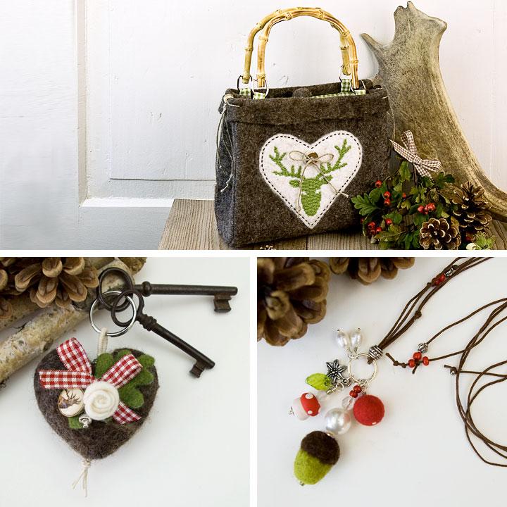 Filztasche bestickt. Herzförmiger Schlüsselanhänger. Kette mit Pilz, Perlen und Eichel. Doris Niestroj | Filz &Form. www.doris-niestroj.de