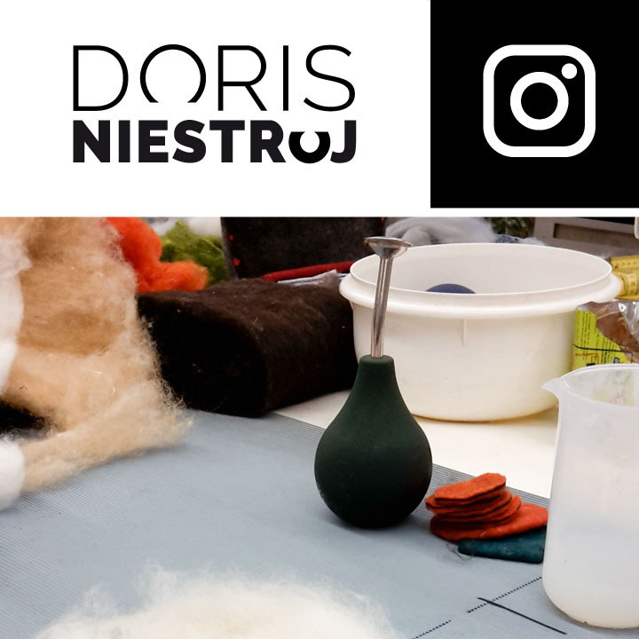 Logo Doris Niestroj. Instagram Icon. Impression vom Workshop mit Maria Friese bei Filzrausch in Göttingen 2016. Doris Niestroj - Filz & Form.