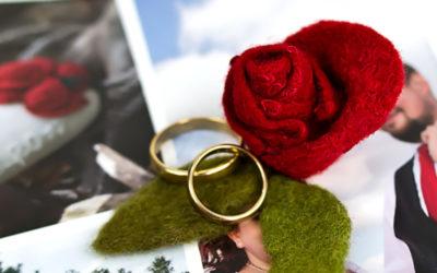 Gefilztes Ringkissen mit Rosen