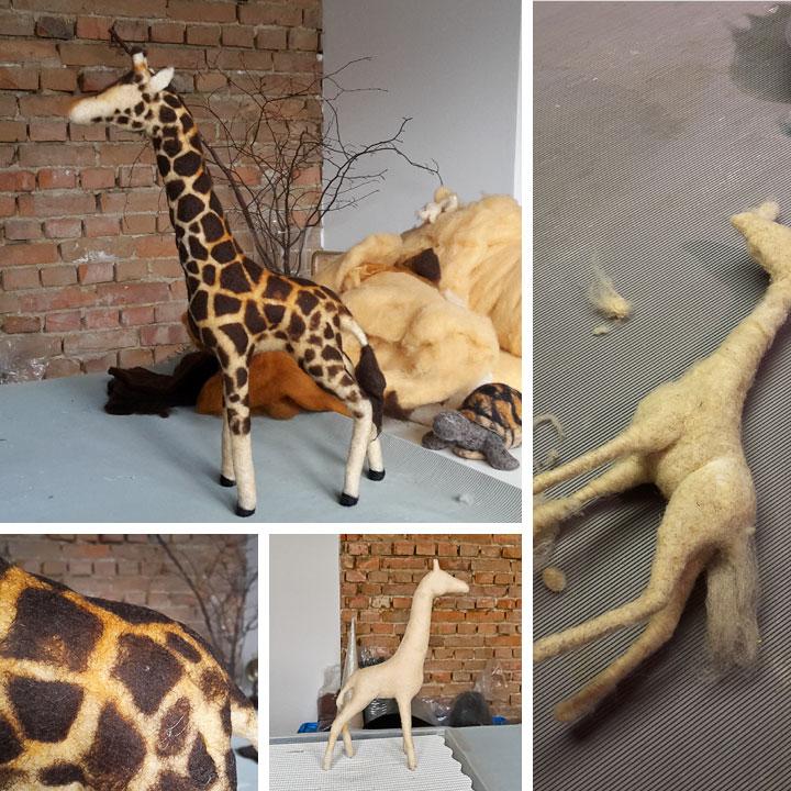 Filzprozess Giraffe für Schultüte | Doris Niestroj - Filz & Form