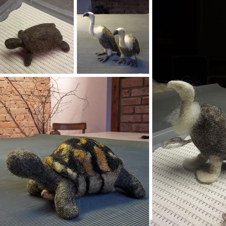 Schultüte Filz. Schildkröte und Geier | Doris Niestroj - Filz & Form
